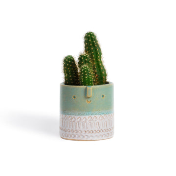Atelier Stella Mini Pot Turquoise and White
