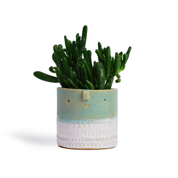 Atelier Stella Small Pot Turquoise and White