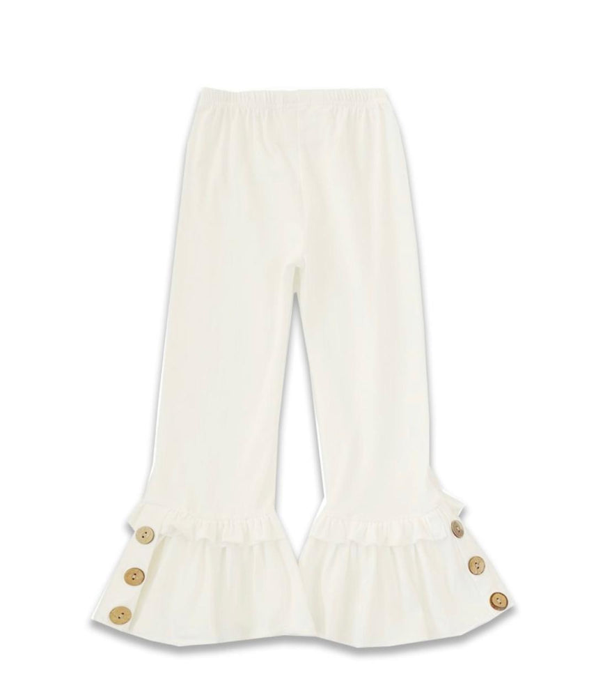 White Ruffle Pants with button accent