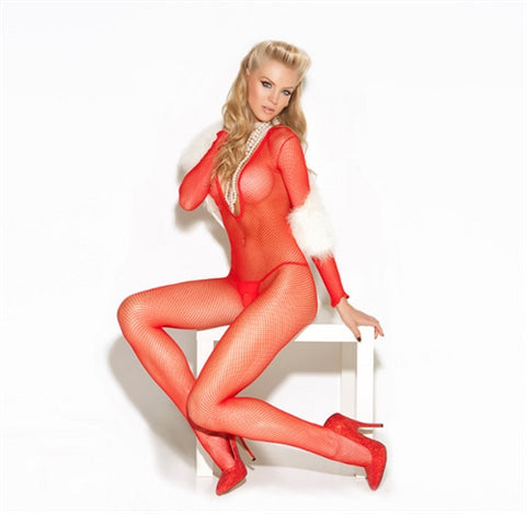 Deep v Fishnet Body Stocking - One Size - Red EM-8509