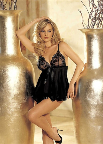 Sequin Embroidery and Sheer Net Baby Doll - One Size - Black HOT-96121BLK