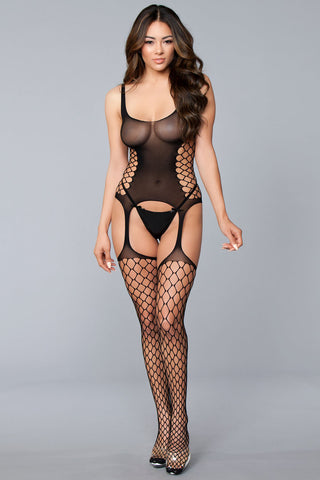 Sleeveless Suspended Bodystocking With Side Cut Out - One Size - Black BW-B128