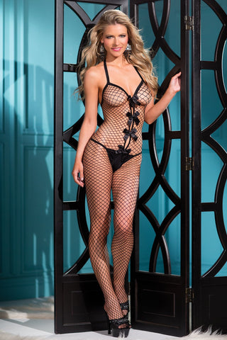 1 Piece Bow Accented Fishnet Bodystocking With  Thin Shoulder Straps - One Size - Black BW-B56B