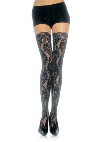 Lace Top Lace Thigh Highs - One Size - Black LA-9762BLK