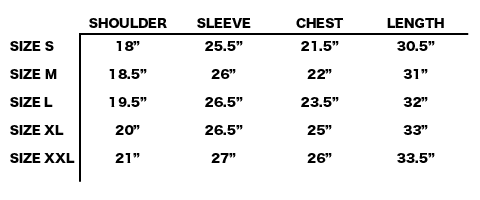 FW19 STONE ISLAND SHADOW PROJECT - COACH JACKET SIZE CHART