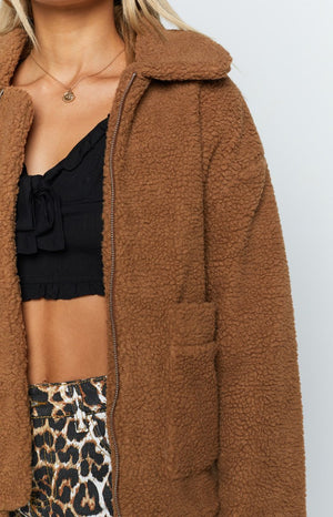 Diamond Heart Teddy Jacket Camel