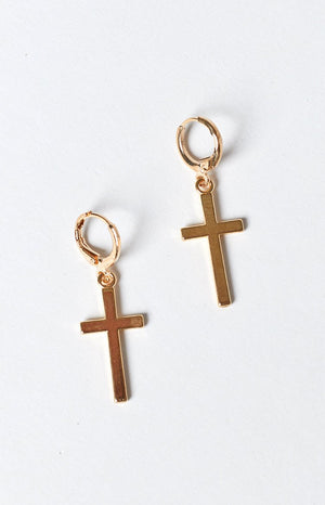 Eclat Maria Cross Earrings Gold
