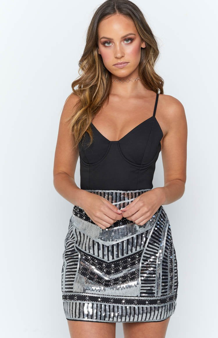Sienna Sequin Skirt Silver Multi