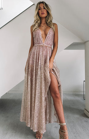 Zinna Glitter Maxi Dress Rose Gold