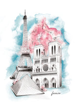 Load image into Gallery viewer, French Eiffel Tower, Notre Dame, The Louvre landmark watercolour illustration by Imperium Illustrations
