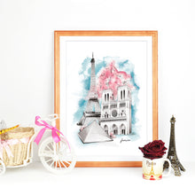 Load image into Gallery viewer, Framed French Eiffel Tower, Notre Dame, The Louvre landmark watercolour illustration by Imperium Illustrations