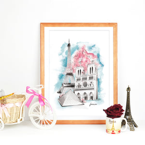 Framed French Eiffel Tower, Notre Dame, The Louvre landmark watercolour illustration by Imperium Illustrations