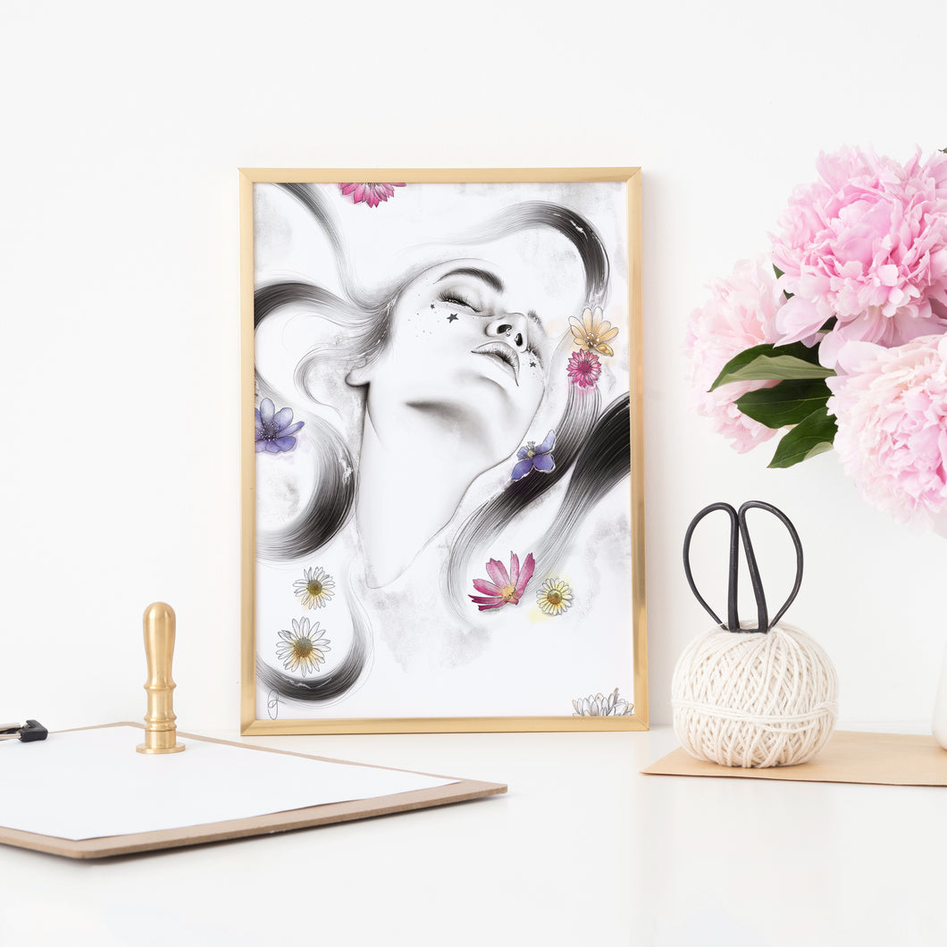 Tranquility flowers Imperium Illustrations framed art print