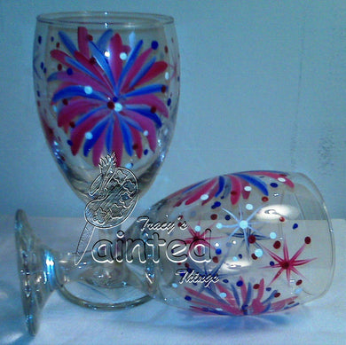 Red White & Blue Glass