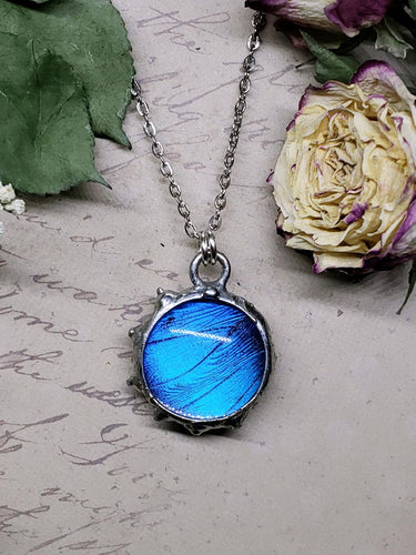 Blue Morpho Butterfly Necklace - Two-Sided Small Circle Fancy Shape in Silver - The Steampunk Butterfly