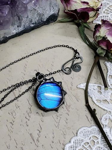 Blue Morpho Butterfly Necklace - Two-Sided Small Circle Fancy Shape in Gunmetal - The Steampunk Butterfly