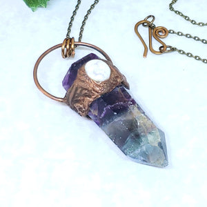 Electroformed Fluorite Point and Howlite Necklace with Bronze Chain - The Steampunk Butterfly