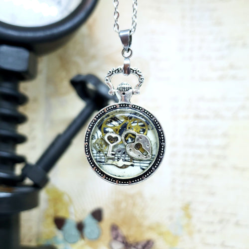 Steampunk Silver Mini Pocket Watch Necklace - The Steampunk Butterfly