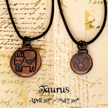 Load image into Gallery viewer, Zodiac and Horoscope Charm Necklace - Taurus - The Steampunk Butterfly