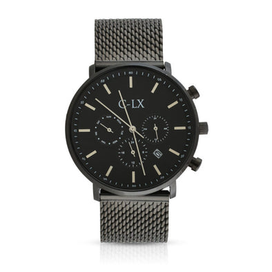 42mm black watch with 22mm mesh band. Scratch resistant glass, 3 sub dial chronograph function