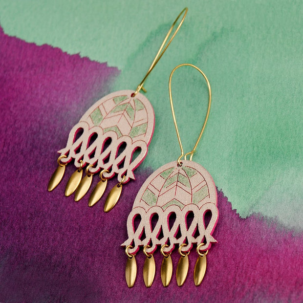 Calla Earrings Green/Pink