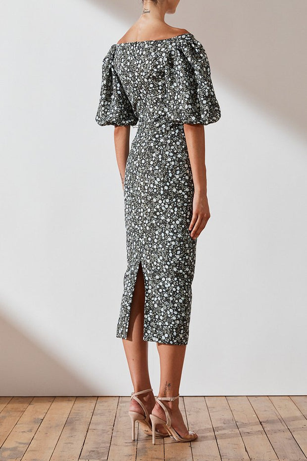 Parker Linen OTS Fitted Midi Dress - PRE ORDER ARRIVING FRIDAY 19th July