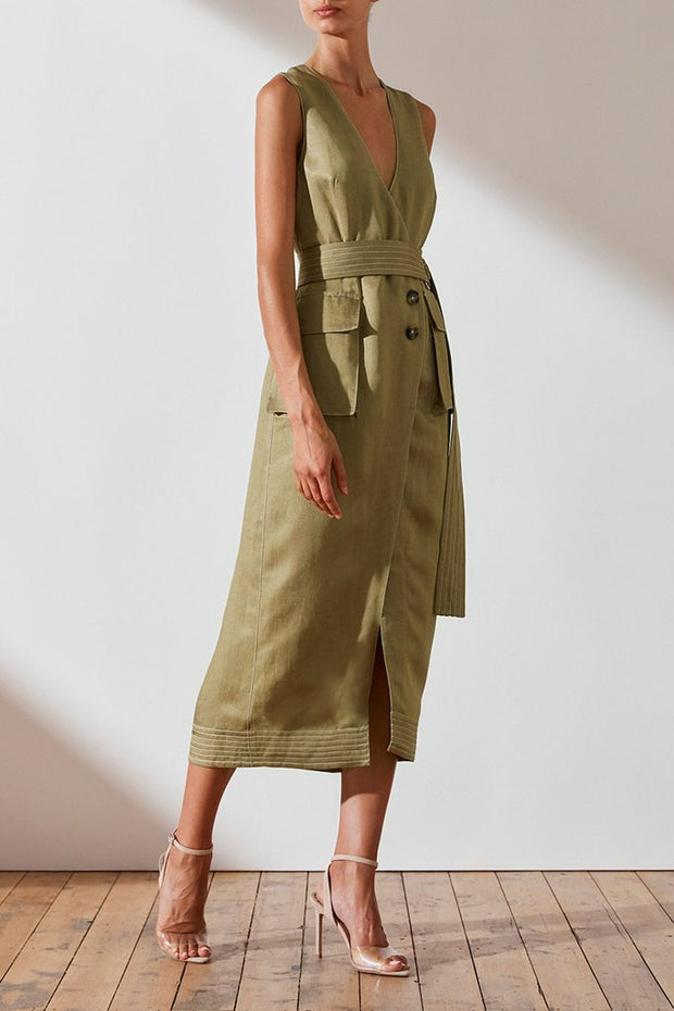 Ellington Wrap Midi Dress with D Ring - Olive - PRE ORDER - ARRIVING FRIDAY 19th July