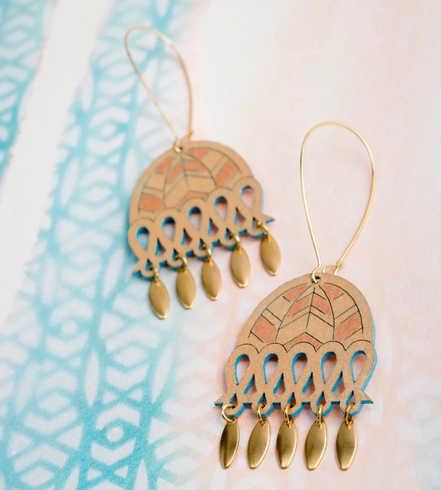 Calla Earrings Gold/Turquoise