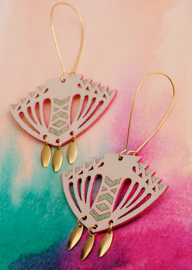 Samara Earrings Green/Pink
