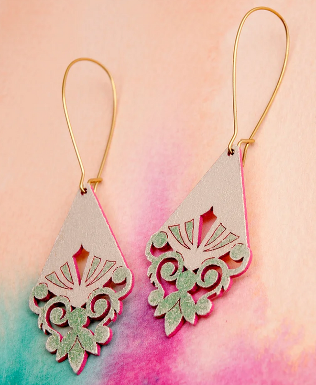 Briony Earrings Green/Pink