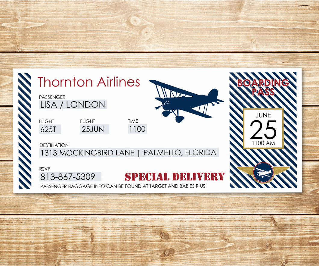Vintage Biplane Airline Ticket Invitation