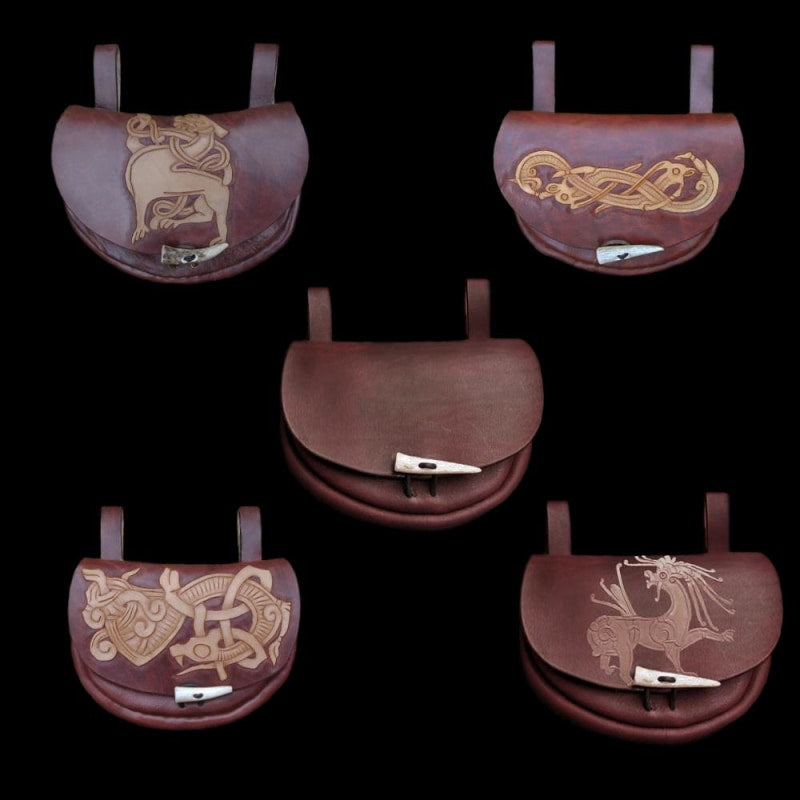 Custom Made Turned Leather Belt Pouch - Viking Pouches & Bags
