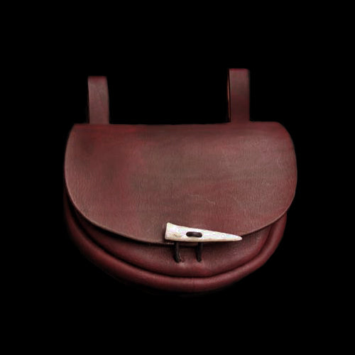 Turned Brown Leather Belt Pouch