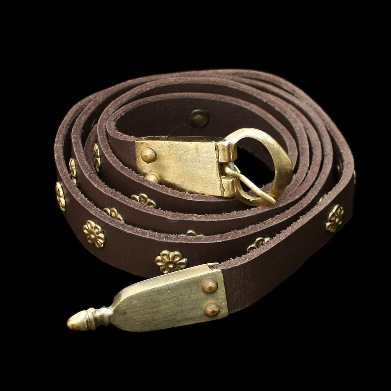 Brown Leather Belt with Norman / Medieval Brass Fittings - Norman Belts