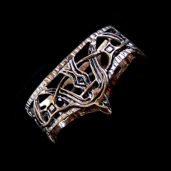 Borre-Style, Viking Replica Bronze Scabbard Mouth with Raven Design - Viking Weapons Accessories