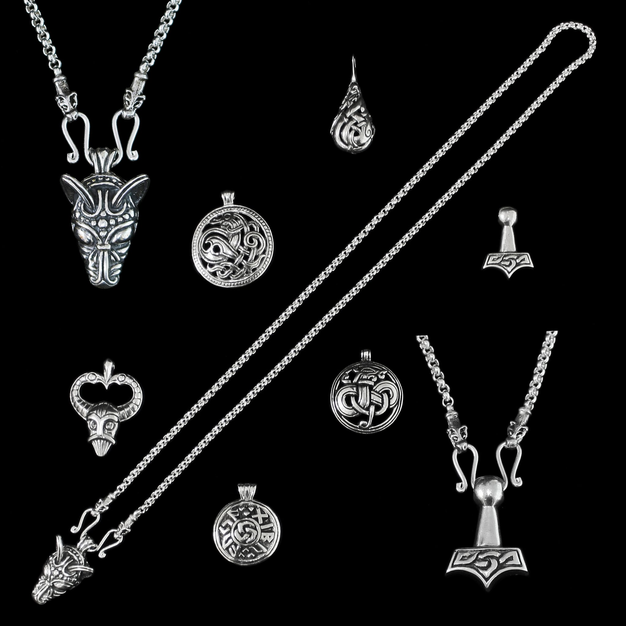 Sterling Silver Anchor Chain Viking Necklace with Icelandic Wolf Heads with a Choice of Pendants