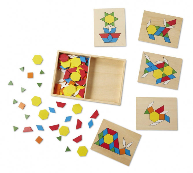 Wooden Pattern Blocks and Boards by Melissa and Doug - Baby Prestige UK