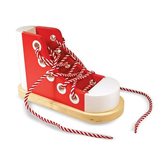 Wooden Lacing Shoe by Melissa Doug - Learn to tie your shoes - Baby Prestige UK