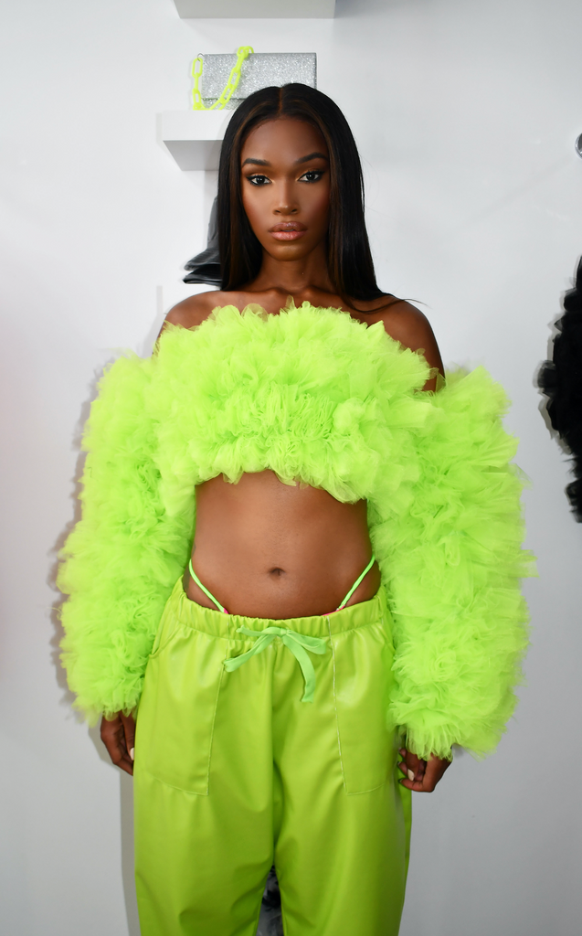 LIME GREEN TULLE OFF THE SHOULDER BLOUSE