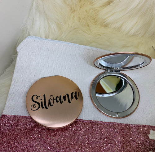 Compact Cosmetic Mirror Rose Gold - Personalised