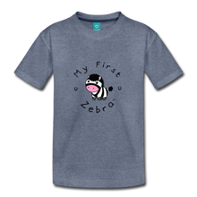Load image into Gallery viewer, Toddler My First Zebra T-Shirt - heather blue