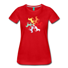 Load image into Gallery viewer, Women's Rainbow Horse Circle T-Shirt - red