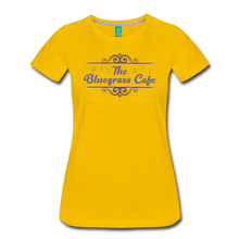Load image into Gallery viewer, Women's The Bluegrass Cafe (swirl) T-Shirt - sun yellow