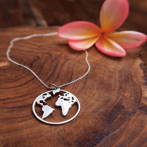 World Map Necklace Silver