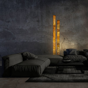 Picture of an ART FUTURO Floor Lamp in Falling Leaves Slate and daytime view