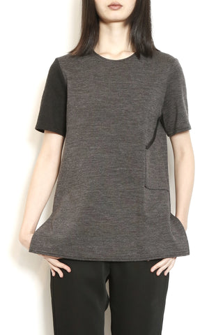 Grey Knit Side Pocket Tee with Contrast Sleeve