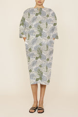 Multi-Color Leaf Cotton Print Zero Waste One-Size-Fits-All Caftan Dress
