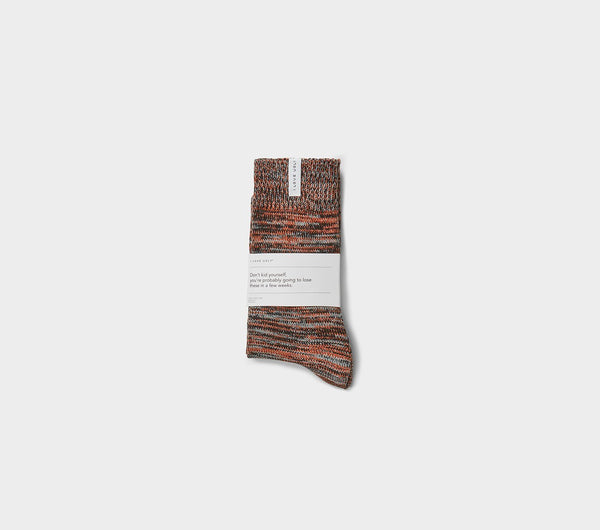 Speckled Sunday Sock - Burnt Orange/Black Multi