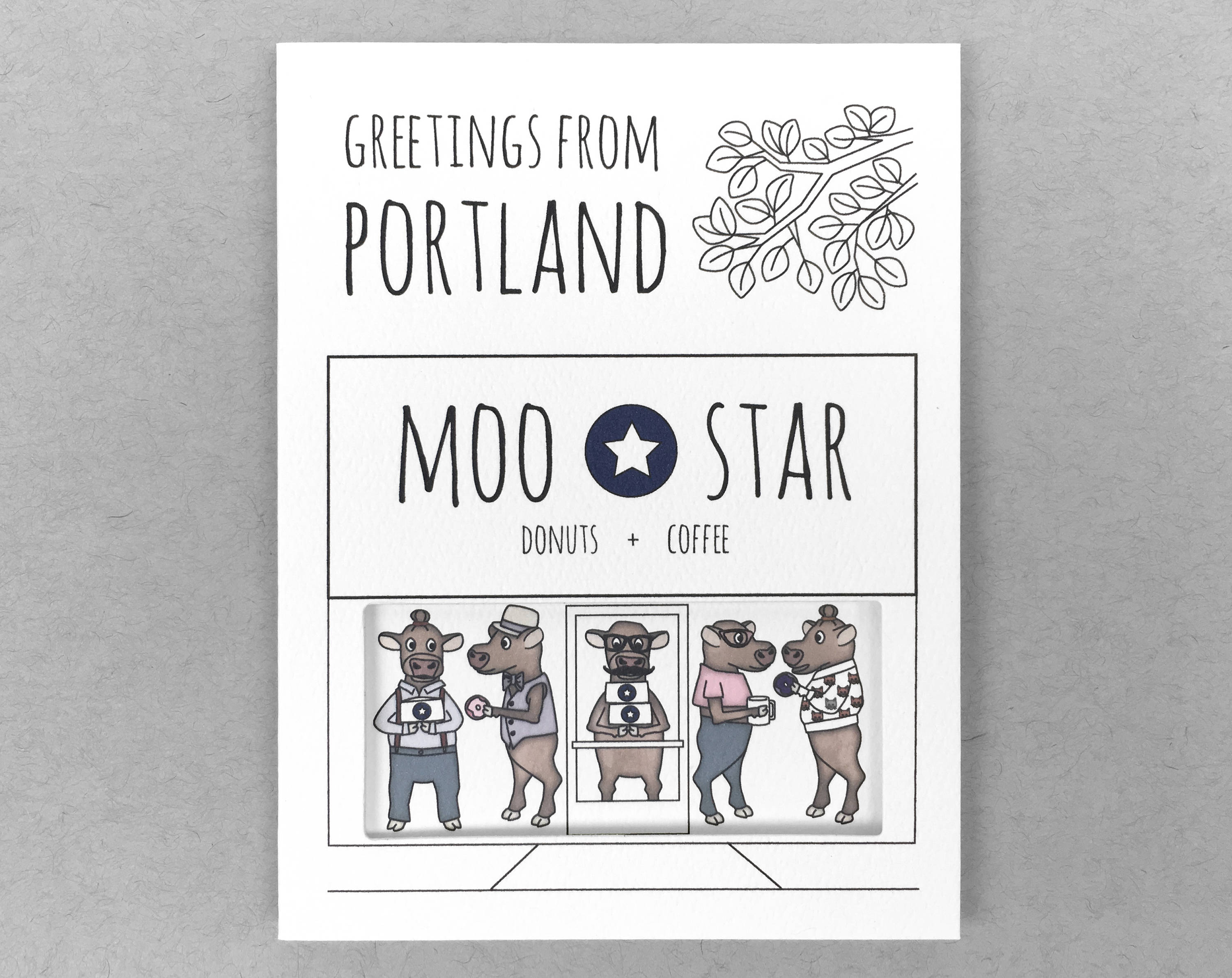 Blue Star cow Portland card