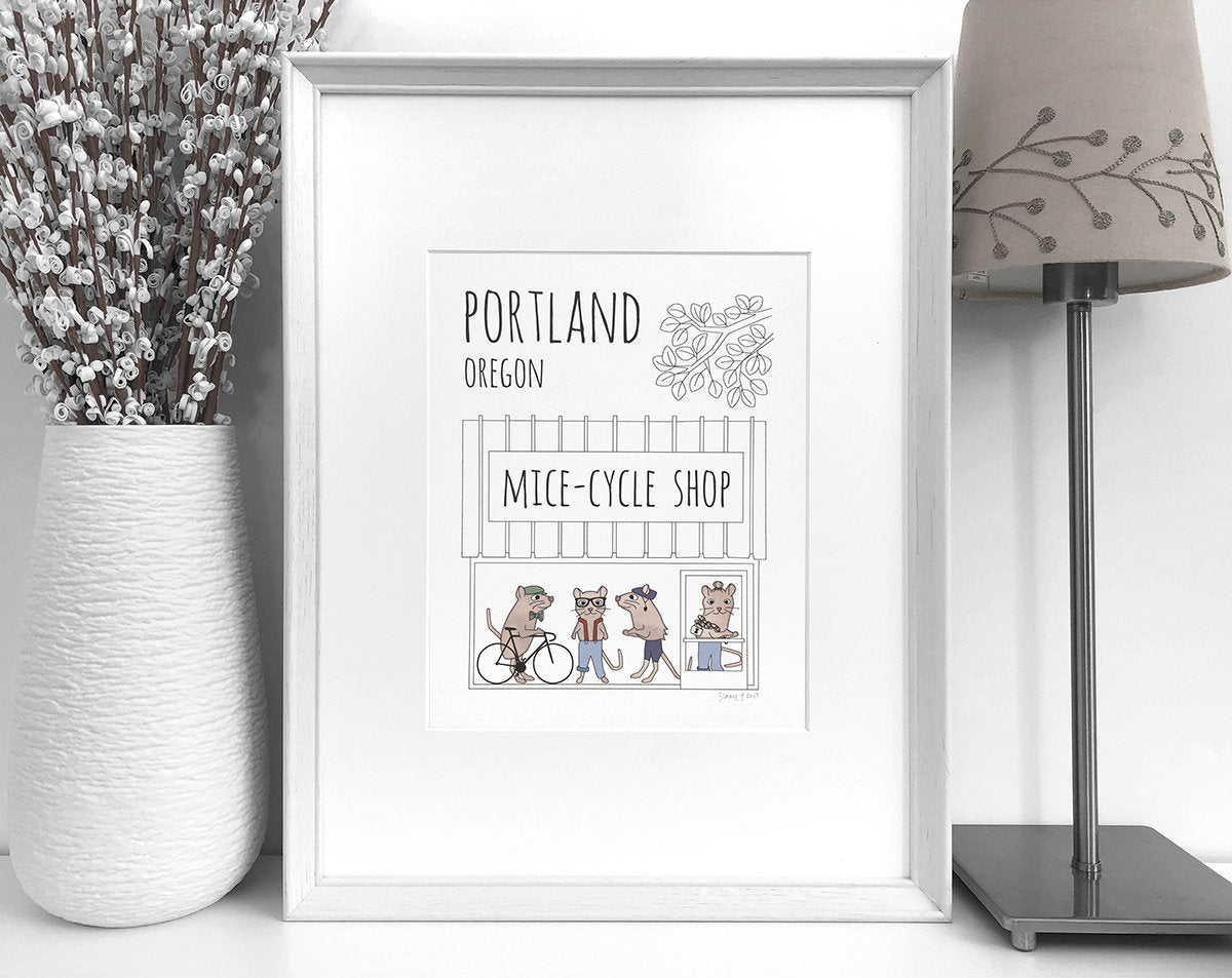 Portland bike shop art print